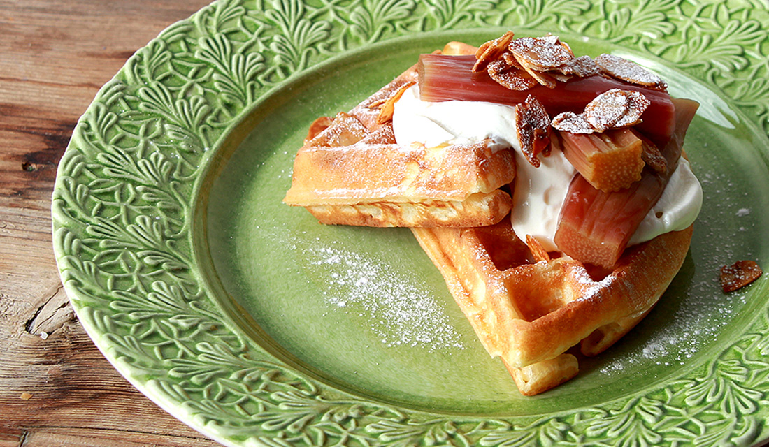 Sourdough Waffles with Baked Rhubarb