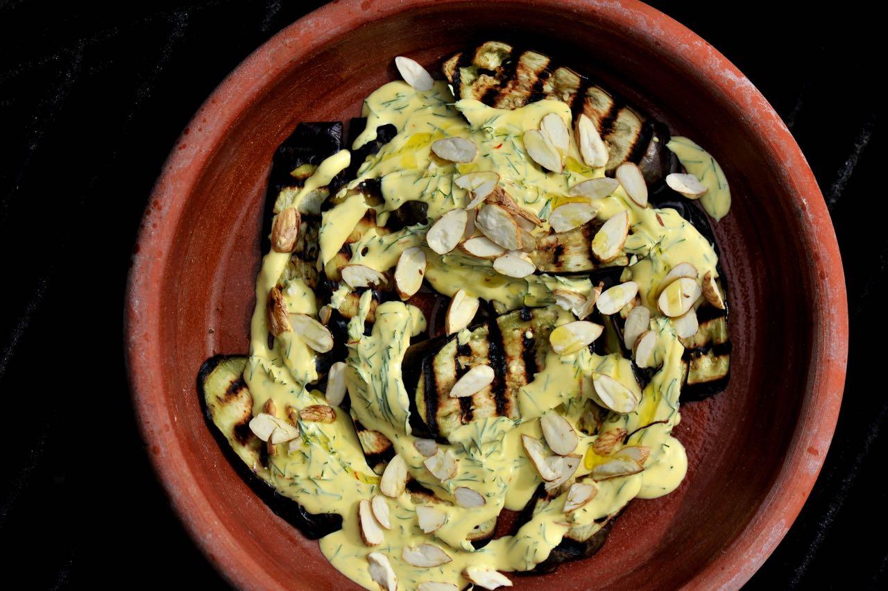 Thyme's Aubergine With Dill, Saffron & Cobnuts