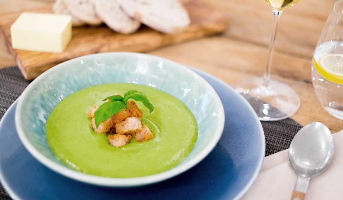Divertimenti's Courgette, Pea & Basil Soup